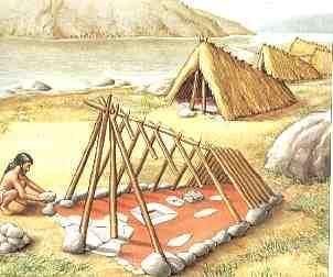 Período Mesolítico - Hominídeo construindo sua habitação