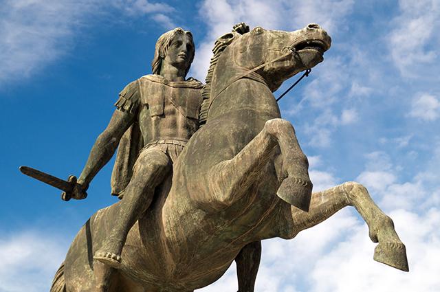 Estátua de Alexandre, o grande, em seu cavalo