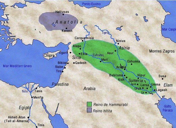 Mapa da Mesopotâmia mostrando a Babilônia.