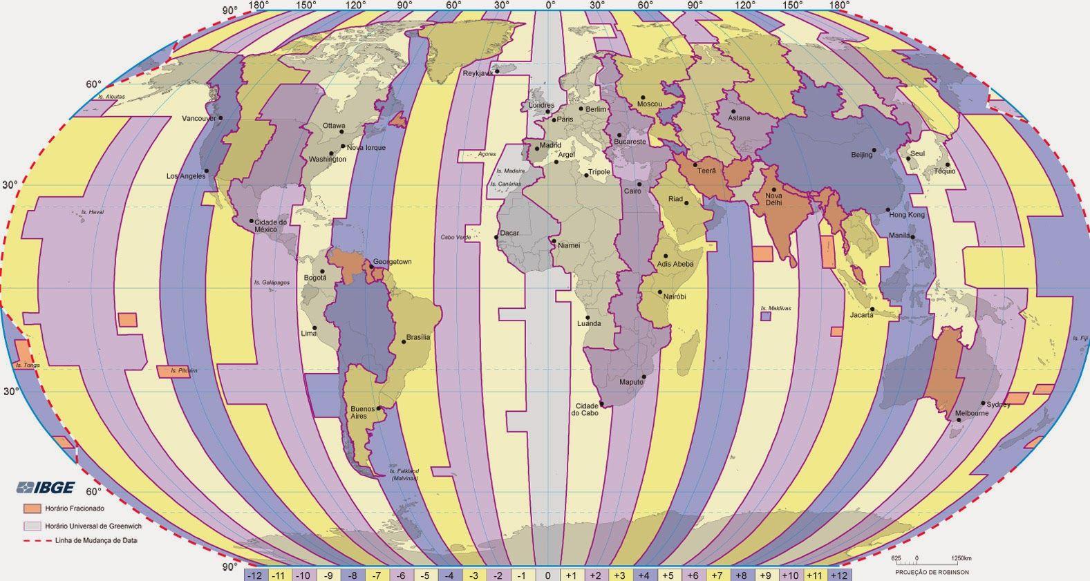 Fuso horrio Mapa e conceito em geografia  Estudo Prtico