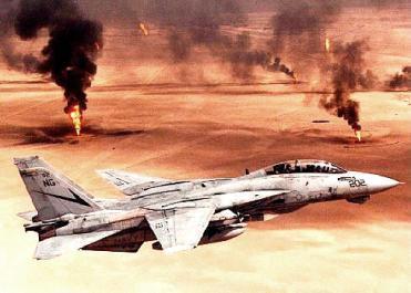 Guerra do Golfo: avião sobrevoando o Kuwait