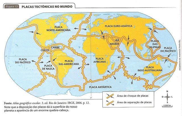 Estrutura geológica do Brasil - Placas Tectônicas