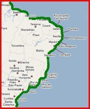 Mapa dos manguezais do Brasil