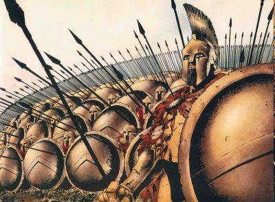 Soldados espartanos em guerra
