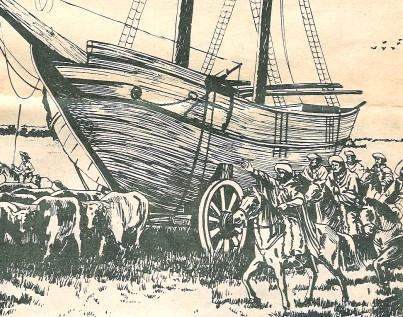 Navio puxado por bois - República juliana