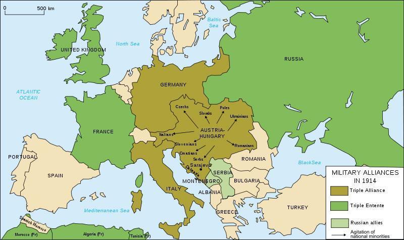Mapa com os países da Tríplice Entente
