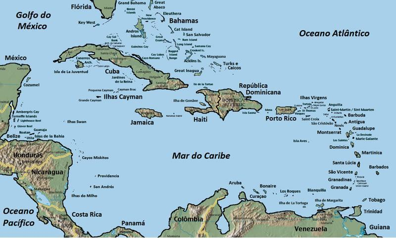 Mapa do Mar do Caribe