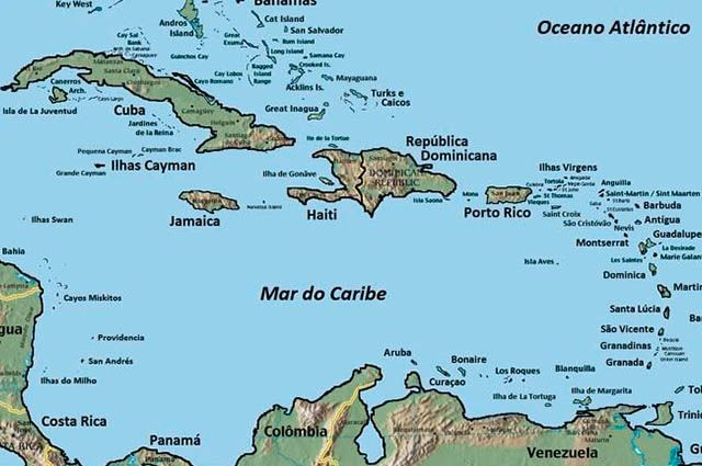 Mar do Caribe - Mapa