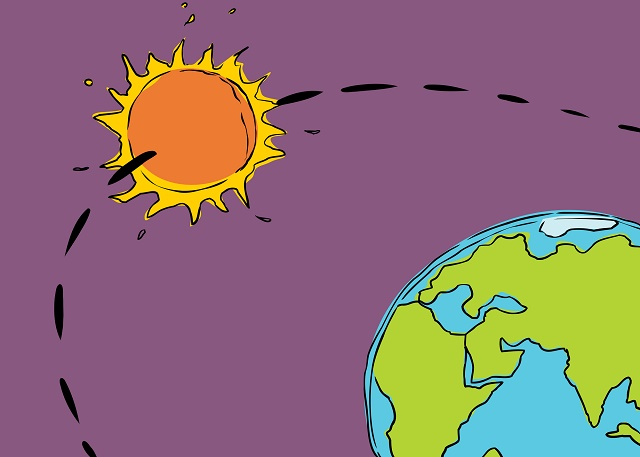 Desenho da Terra e do Sol