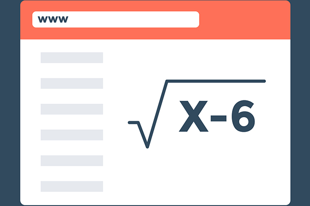 Ilustração de raiz quadrada com x