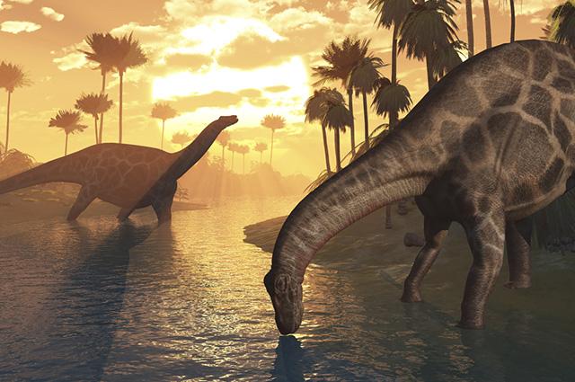 Durante a Era Mesozoica, as condições climáticas eram áridas, com presença de um vasto deserto arenoso