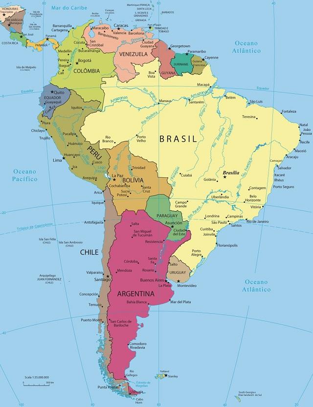A América do Sul possui uma extensão territorial com mais de 18 milhões de quilômetros quadrados