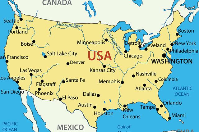 Os Estados Unidos possuem 50 estados contíguos e mais dois afastados geograficamente