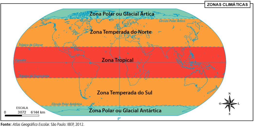 Zonas térmicas da Terra - Polares, temperadas e tropical