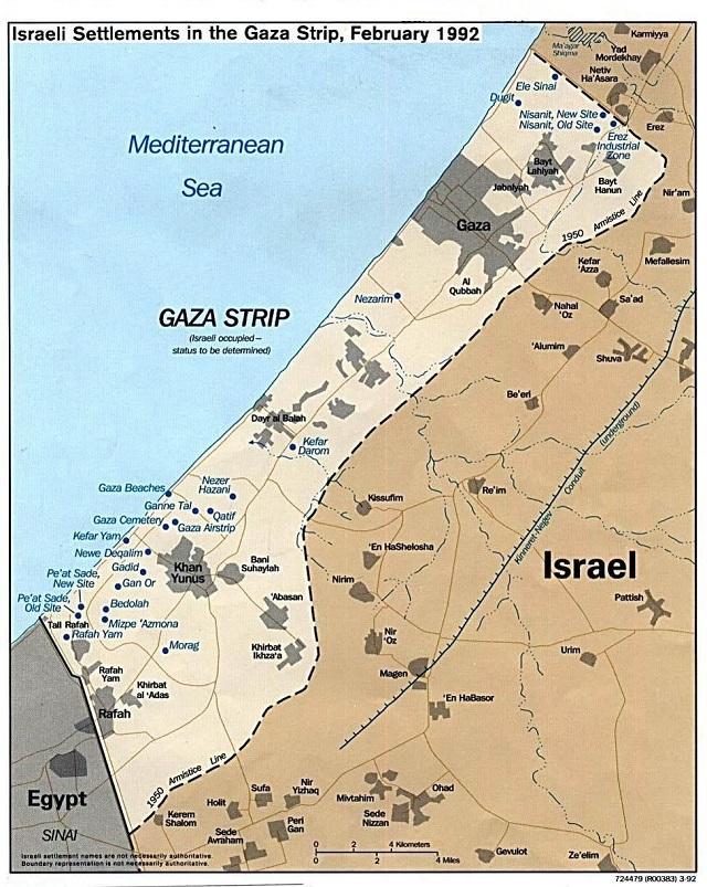 O território da Faixa de Gaza possui uma dimensão territorial de 365 km²