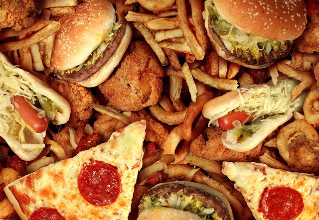 Hambúrguer, pizza, coxinha, hot-dog