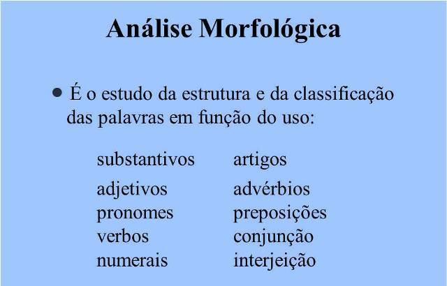 Análise Morfológica Definição E Exemplos