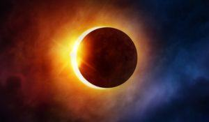 Solar Eclipse. The moon moving in front of the sun. Illustration