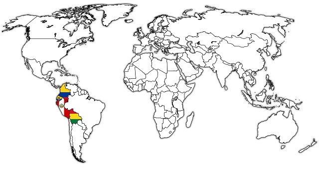 Mapa múndi destacando países membros