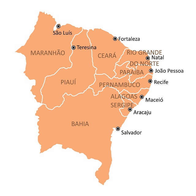 Mapa do Nordeste do Brasil