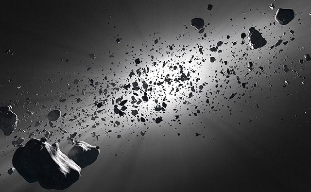 Imagem da colisão de um asteroide