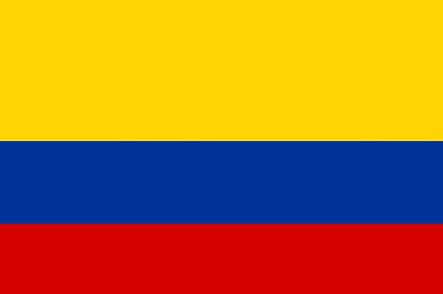 A bandeira adotada oficialmente pela Colômbia é formada por três cores distintas