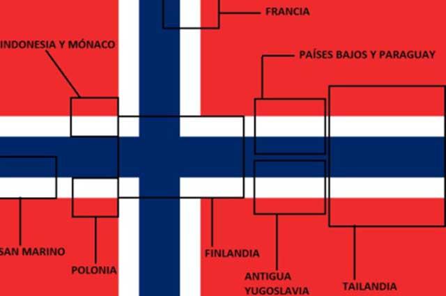 Diversos países seguem padrões de cores similares aos da bandeira da Noruega
