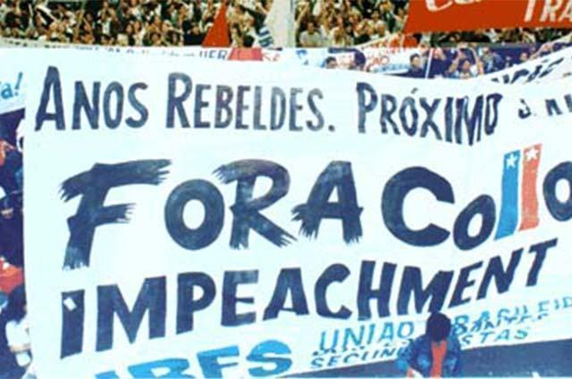 Imagem de manifestação pelo impeachment do ex-presidente Fernando Collor