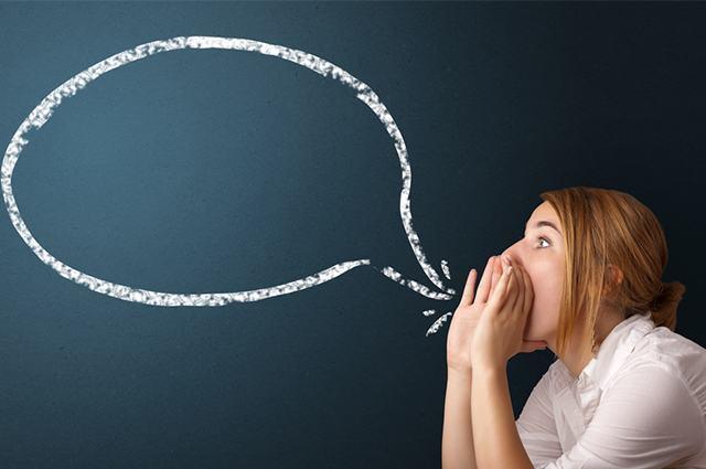 Imagem de mulher com balão de discurso