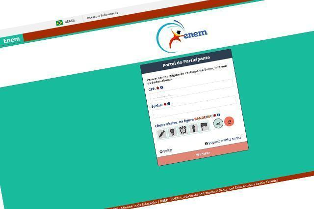 Imagem da reprodução do site do participante do Enem