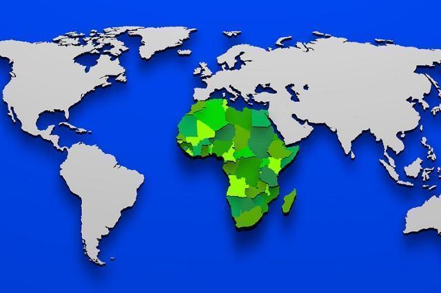 Imagem de mapa-mundi com território africano em destaque 3D