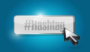 hashtag button illustration design over a blue background