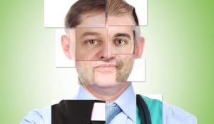 Human male face made of several different people,artistic concept