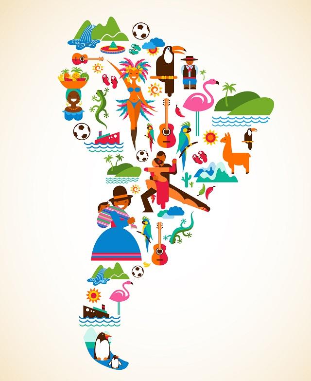 Mapa com ícones da América do Sul