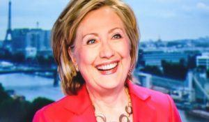 PARIS, FRANCE - JULY 07, 2014: First appearance of Hilary Clinton on national French television channel TF1 after meeting Vladimir Putin, Russian President