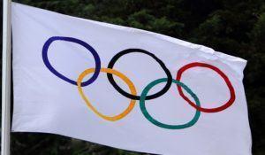 YALTA, UKRAINE, MAY 29: Olympic flag waving on the Ukrainian Cup in Athletics, on May 29, 2012 in Yalta, Ukraine .