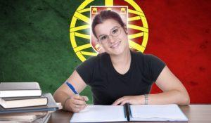 young girl student pc on the background with Portuguese national flag. Portuguese language learning concept