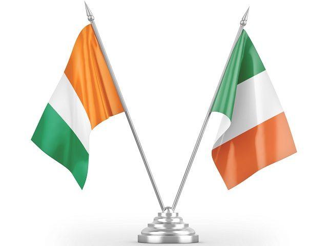 As bandeiras da Irlanda e Costa do Marfim