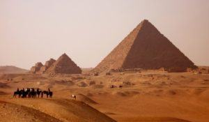 gizah pyramids in Egypt near Cairo at sunset