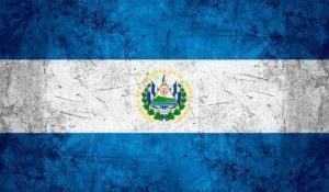 flag of Salvador or Salvadoran banner on rough pattern metal background