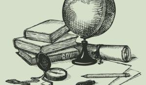 Vector still life subjects of geography: a globe, books, map and compass