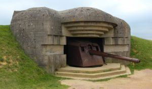 Old broken German bunkers of Atlantic Wall and artillery battery of Longues sur Mer. The battery at Longues was situated between the landing beaches Omaha and Gold, Normandy, France