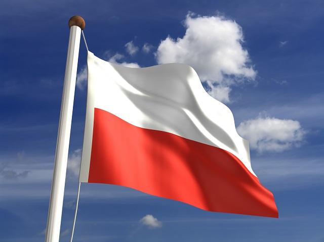 Bandeira da Polônia asteada
