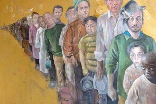 Pintor sírio retrata líderes mundiais como refugiados
