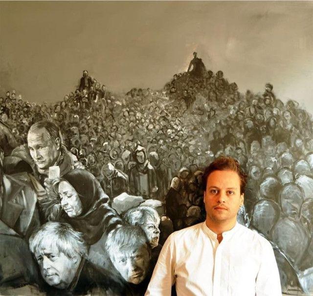 pintor-sirio-retrata-lideres-mundiais-como-refugiados