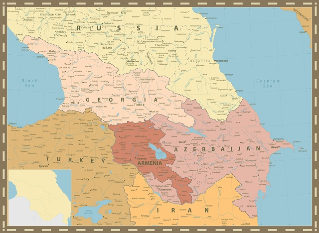Mapa com países do Cáucaso