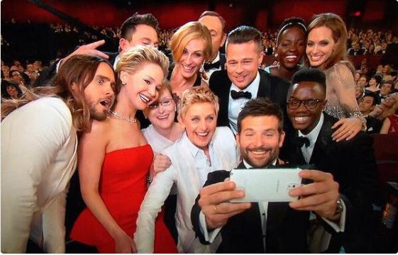 Essa selfie foi a mais republicada da história, alcançando mais de um milhão em apenas uma hora