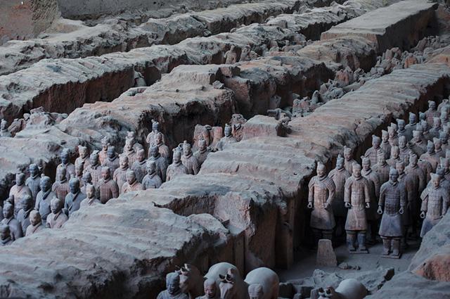 As esculturas do exército Terracota foram feitas no ano 200 a.C.