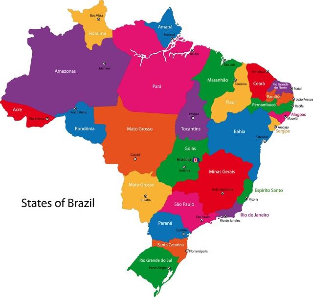 mapa brasil estados Mapa do Brasil: Regiões, estados e capitais   Estudo Prático mapa brasil estados
