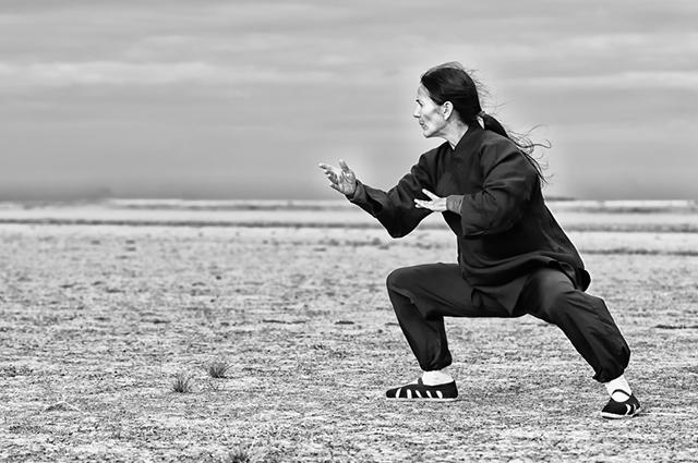 Homem preparando golpe Kung Fu